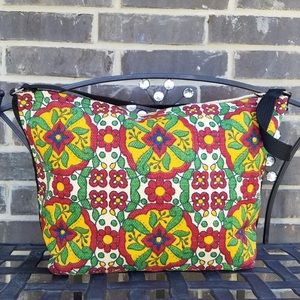 Hand Painted Cotton Talavera Tile Stencil Bag